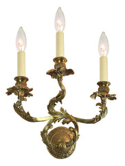 Antique Circa 1910, Three Light Rococo Revival Scroll Arm Wall Sconce with Cast Acanthus Filagree.