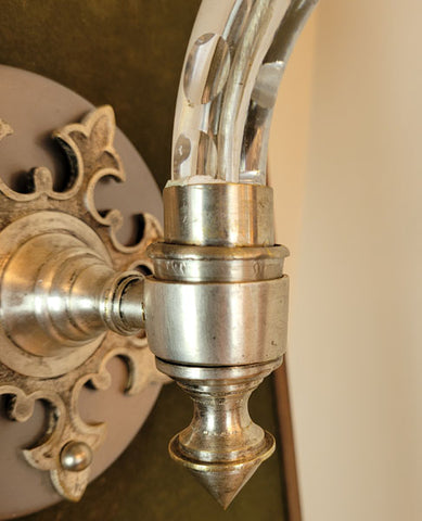 $1200 PAIR - Exceptional Circa 1870 Converted Gas Crystal Wall Sconces with Greek Key Wheel Cut Gas Shades.