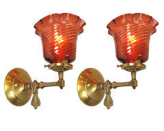 $800 PAIR - Antique Circa 1890 Converted Gas Stationary Wall Sconces with Antique Ruby Swirl Glass Shades.