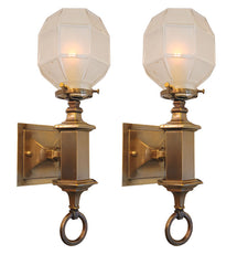 $900 PAIR - Antique Circa 1905 Early Arts and Crafts Wall Sconces with Antique Hexagonal Glass Shades.