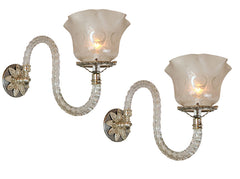 $1300 PAIR - Exceptional Circa 1870 Converted Gas Crystal Wall Sconces with Antique Peacock Cut Gas Shades.