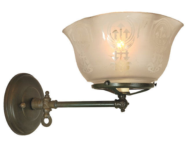 Antique Circa 1900 Single Light, Converted Gas Wall Sconce with Fleurs de Lis Details and an Antique Stencil Etched Shade.