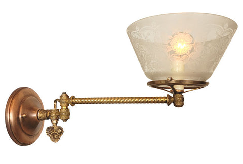 Antique Circa 1870 Single Light, Converted Eastlake Gas Wall Sconce with Cast Sunflower Details and an Antique Floral Stencil Etched Shade.