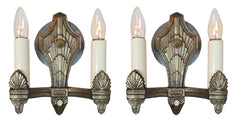 $750 PAIR - Antique Circa 1930 Two Light, Art Deco Wall Sconces with Cast Chevron and Fan Details. SET AVAILABLE