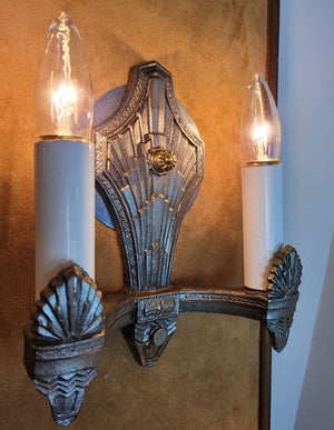 $750 PAIR - Antique Circa 1930 Two Light, Art Deco Wall Sconces with Cast Chevron and Fan Details. SET OF 4 AVAILABLE