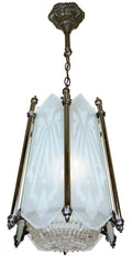 Antique Circa 1930, Single Light, Six Panel Art Deco Lantern With Cast Details and Geometric Glass