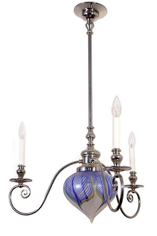Jardin - 3 Arm Candle with Center Art Glass Light