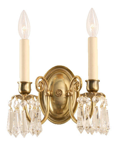 crystal and brass georgian traditional wall light made in toronto canada