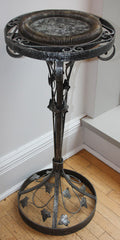 Antique Circa 1925-30 Art Deco Wroght Iron Pedestal Table
