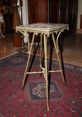 Antique Circa 1880s Brass and Onyx Top Occasional Table