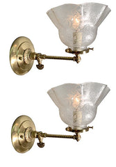 $800 PAIR -  Antique Circa 1890s Converted Gas Stationary Wall Sconces