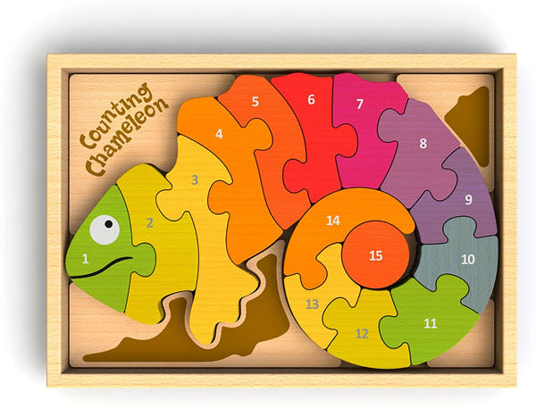 Begin Again Counting Chameleon Bilingual Puzzle