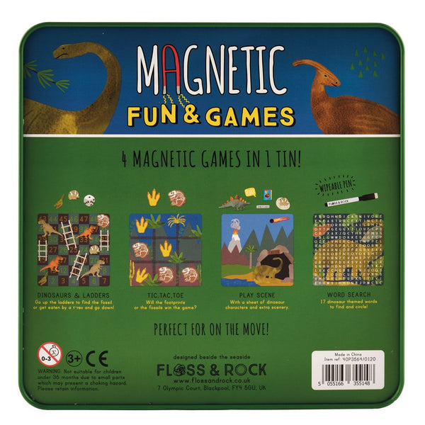 Magnetic Fun & Games - 4 Magnetic Dinosaur Games In 1 Tin