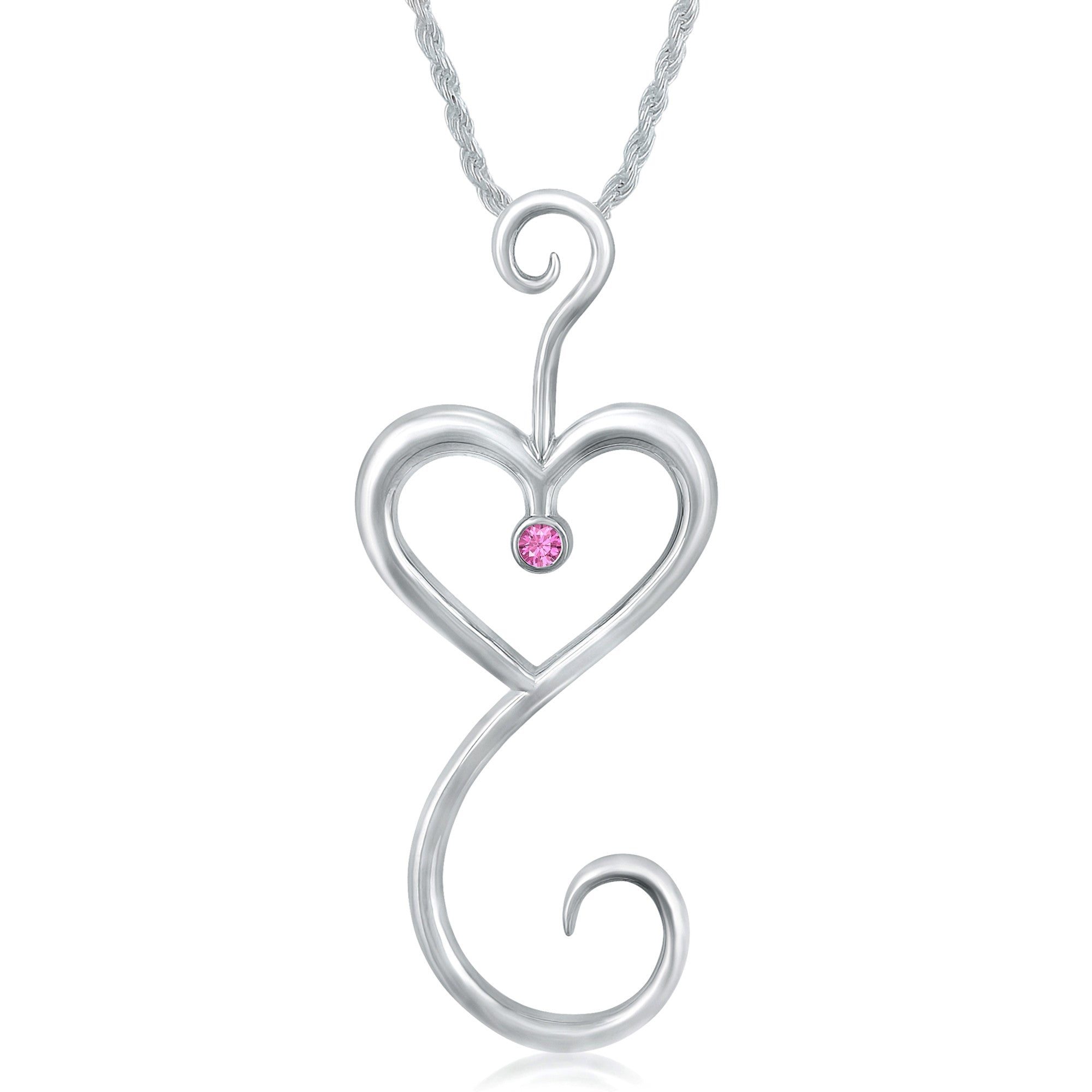 Intrikit Heart - Solid Sterling *Non Tarnish* Silver .925 with a 3mm Pink Sapphire Center Stone
