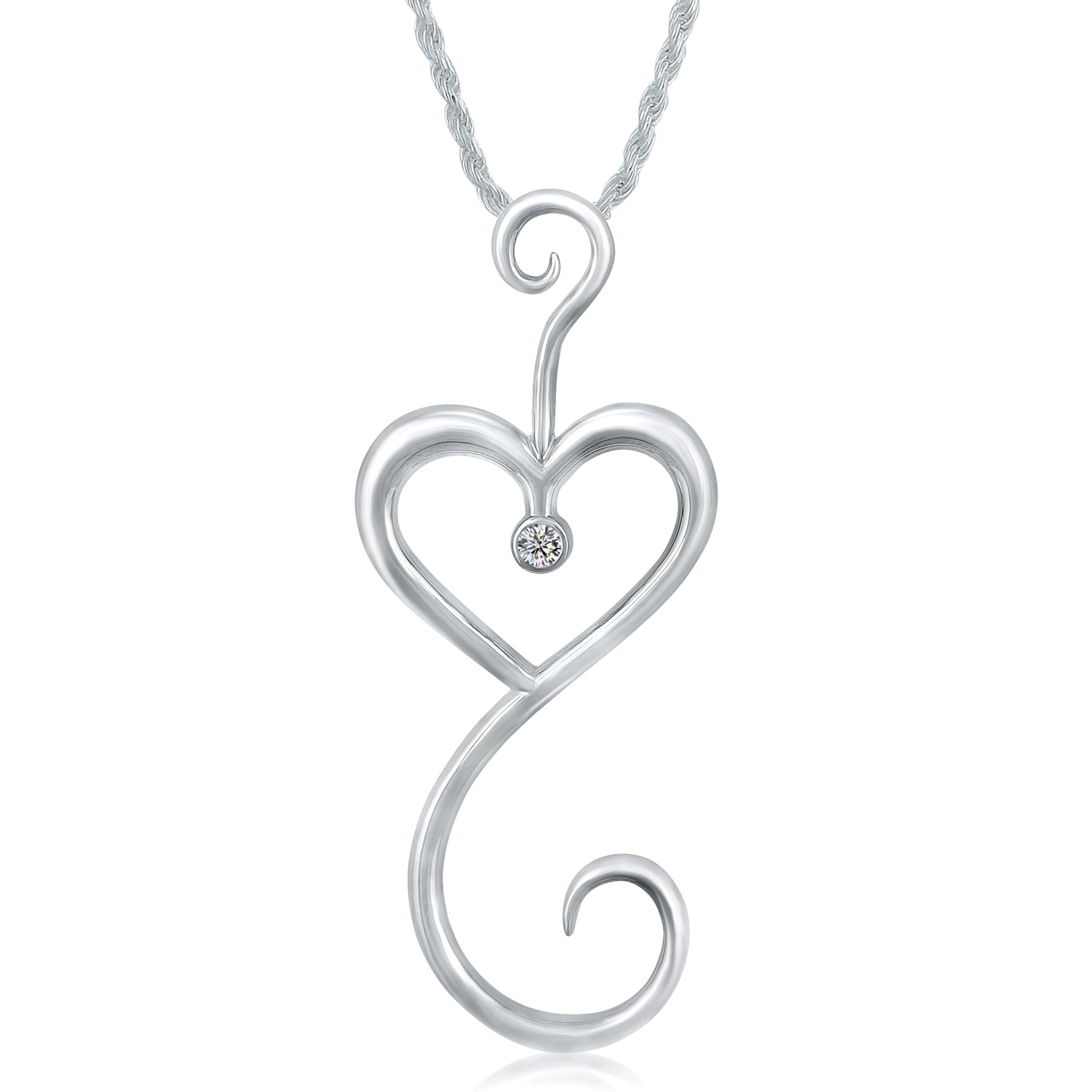Intrikit Heart -Solid Sterling *Non Tarnish* Silver .925 with a 3mm White Sapphire Center Stone