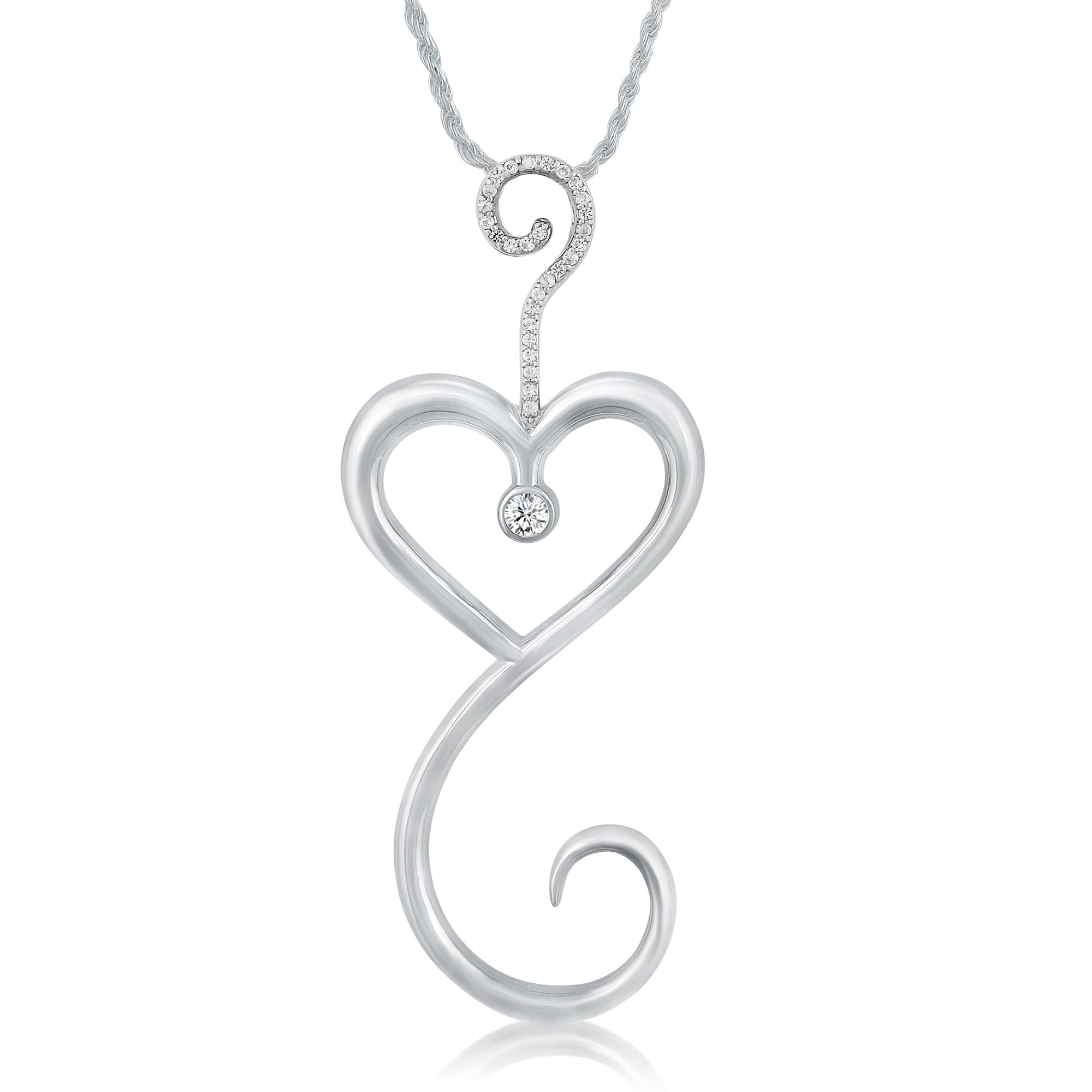 Intrikit Heart - Solid Sterling*Non Tarnish*Silver .925 with White Topaz  Pave and a 3mm White Sapphire Center Stone