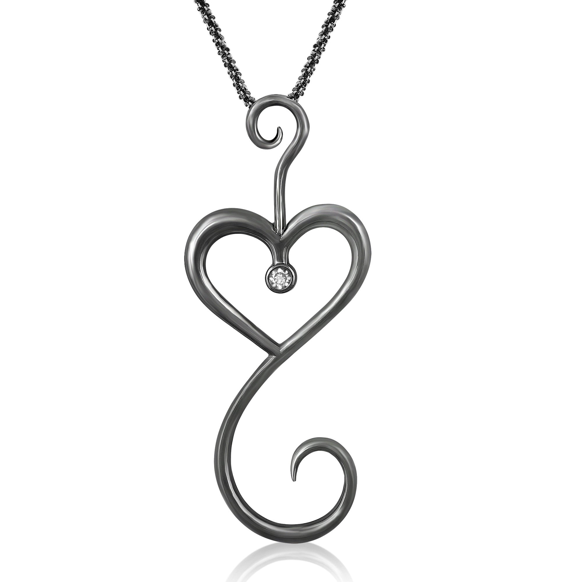 Intrikit Heart - Solid Sterling Silver .925 with a Black Rhodium finish and a 3mm White Sapphire Center Stone