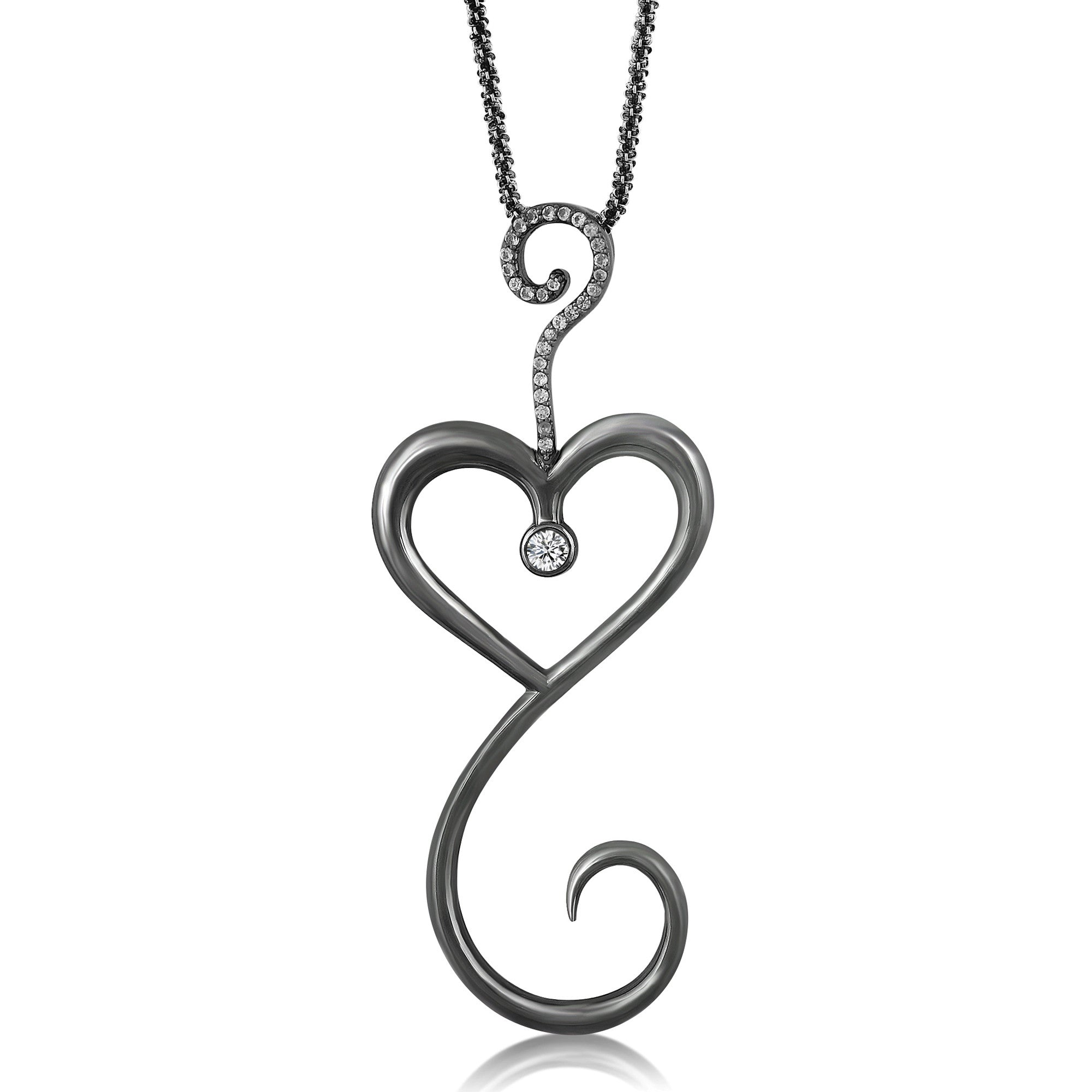 Intrikit Heart -Solid Sterling Silver .925 with a Black Rhodium finish and a White Topaz Pave and 3mm Sapphire Center Stone
