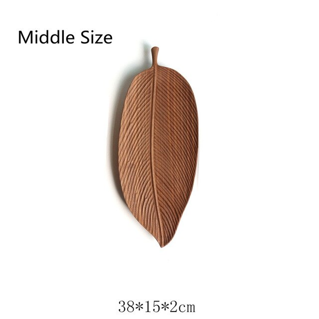 Eco Friendly Leaf Pattern Acacia Wooden Pan Plate