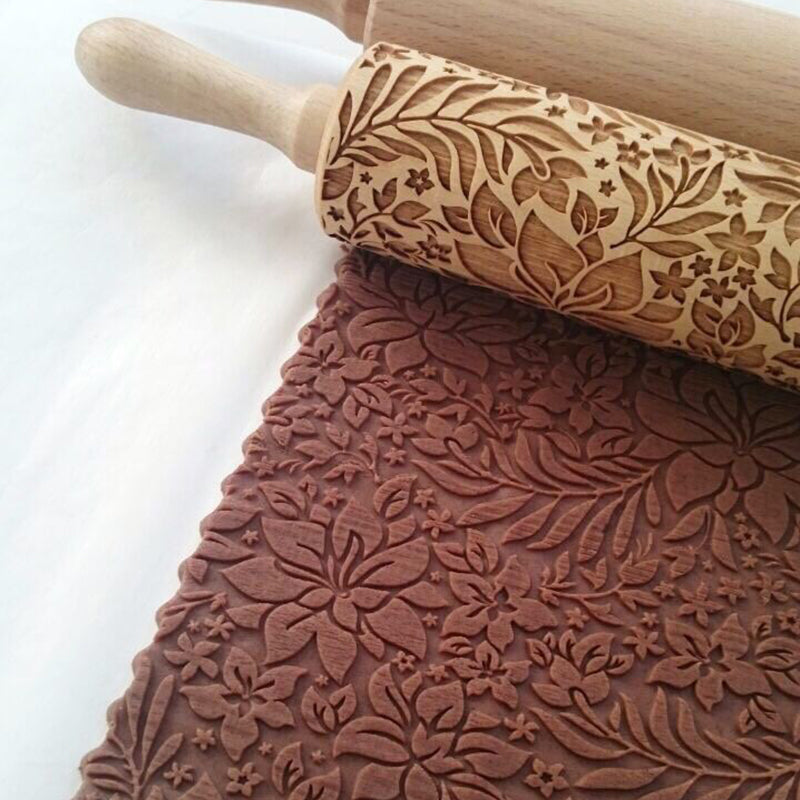 Wooden Rolling Pin With Embossing