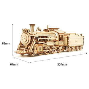 DIY 308 Pcs 3D Wooden Steam Train Puzzle