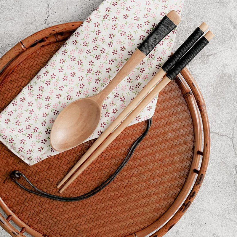 Bamboo Chopsticks and Spoon - Asian Cuisine