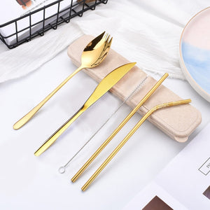 Elegant Reusable Stainless Steel Cutlery Set With Steel Chopsticks