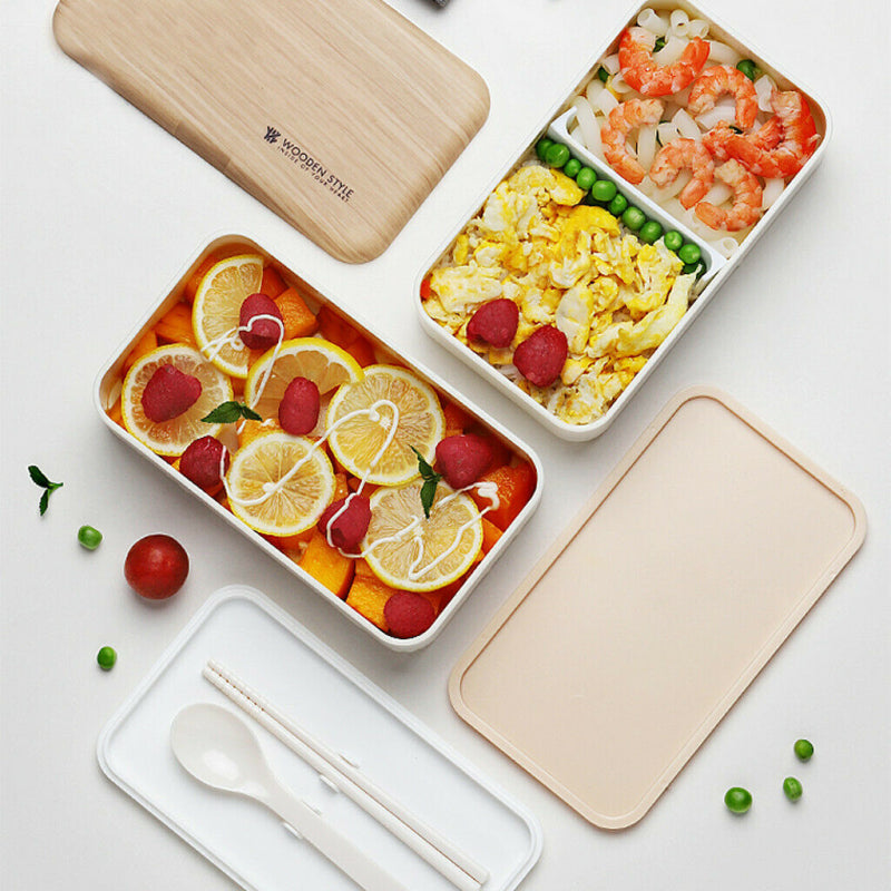 Bento Wood Microwave Lunch Box - 2 Layers