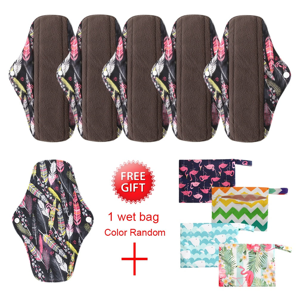 Reusable Cloth Menstrual Pads with Bamboo-Charcoal Absorbency 7Pcs