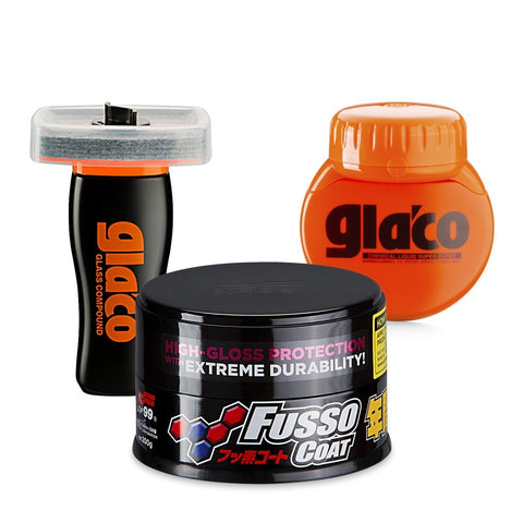 Soft99 - Protection Time Bundle 3 - Fusso Coat Dark + Glaco Roll On + Glass Compound Roll On - ADVANTUSE - Autopflegeshop