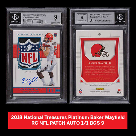 2018 National Treasures Platinum Baker Mayfield RC NFL PATCH AUTO 1/1 BGS 9