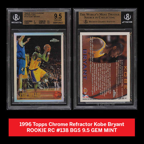 1996 Topps Chrome Refractor Kobe Bryant ROOKIE RC #138 BGS 9.5 GEM MINT