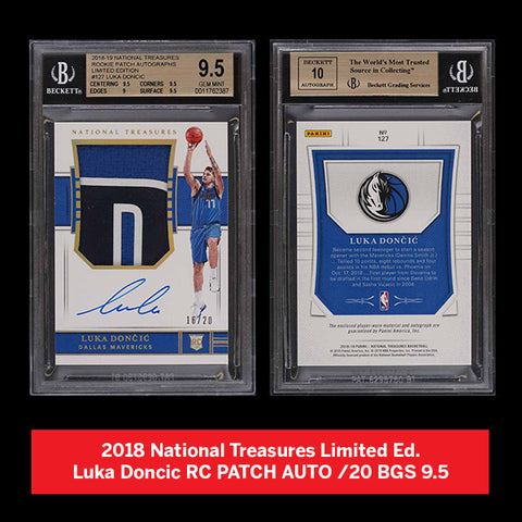 2018 National Treasures Limited Ed. Luka Doncic RC PATCH AUTO /20 BGS 9.5