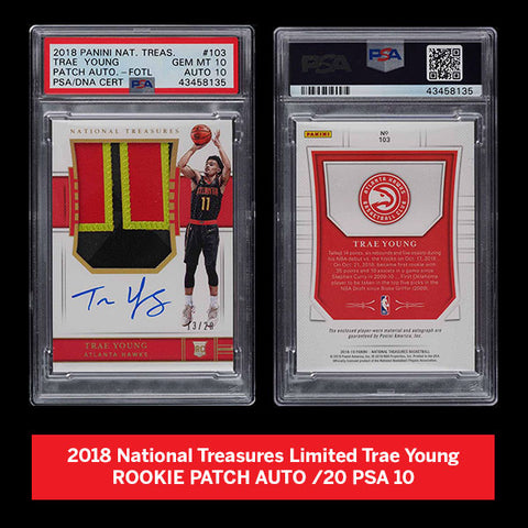 2018 National Treasures Limited Trae Young ROOKIE PATCH AUTO /20 PSA 10