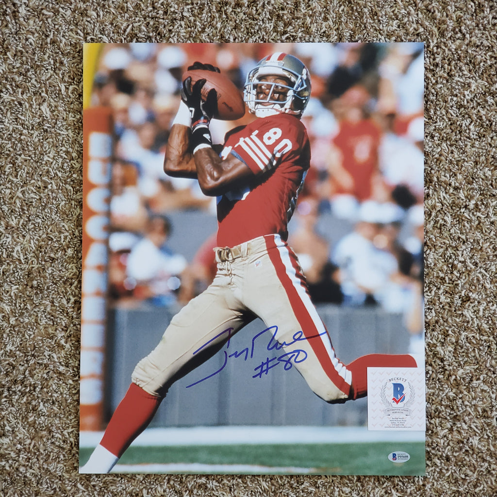 Jerry Rice Signed Autographed 16x20 49ers Beckett COA HOF AUTO
