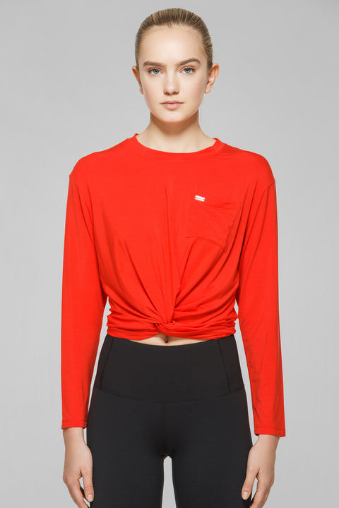 Twist Crop Long Sleeve Top