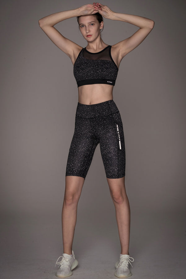 Streak Reflective Knee Cropped Leggings