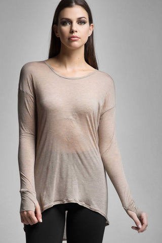 Carmen Open Back Long Sleeve Silk Top