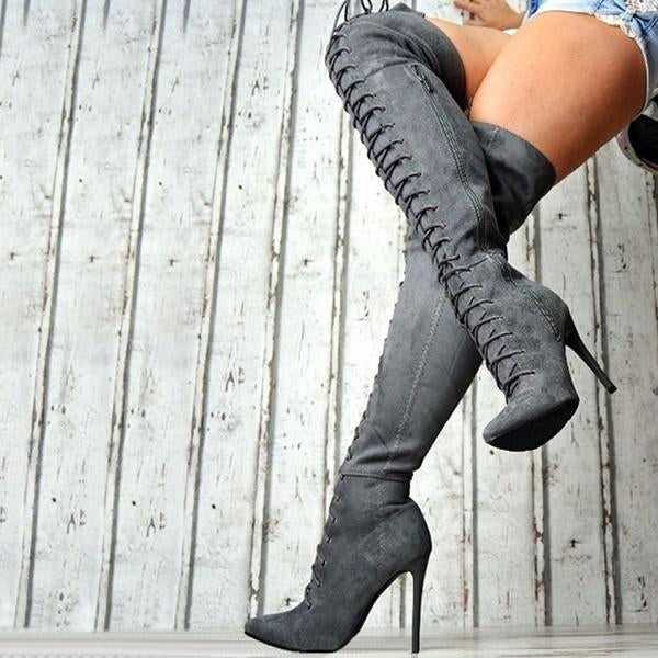 Mokashoes Fashion Lace Up Buckle Knee High Combat Boots