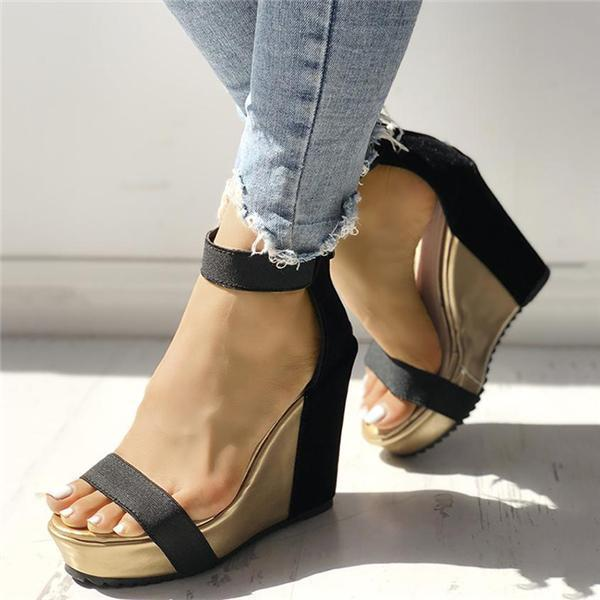 Mokashoes Sexy Open Toe Back Zipper Wedges Sandals