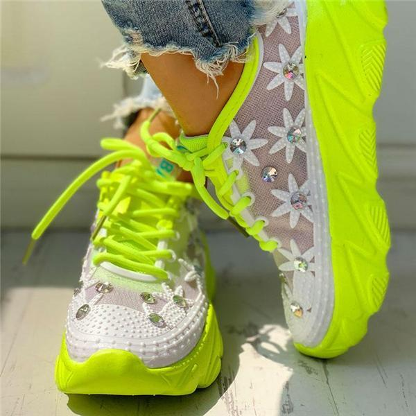 Mokashoes Wedding Mesh Diamante Trim Lace-Up Sneakers