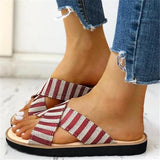 Mokashoes Crisscross Design Striped Flat Sandals