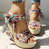 Mokashoes Bowknot Design Platform Espadrille Wedge Sandals