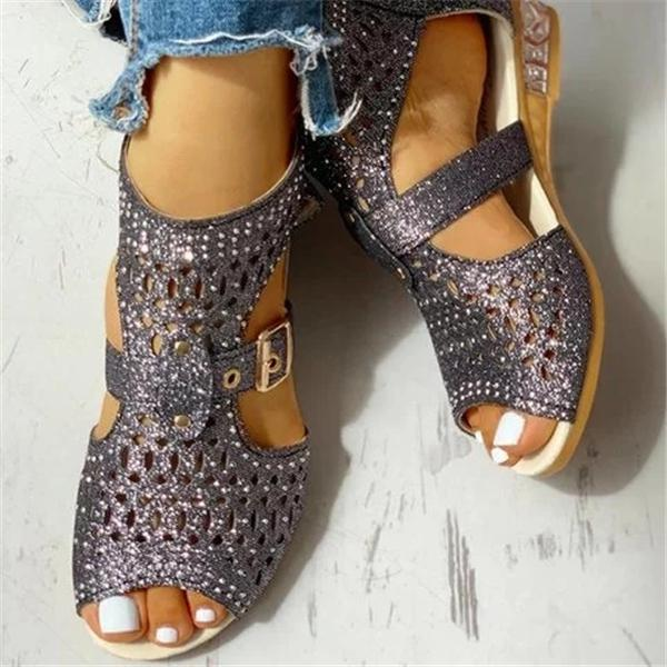 Mokashoes Studded Hollow Out Peep Toe Buckled Sandals