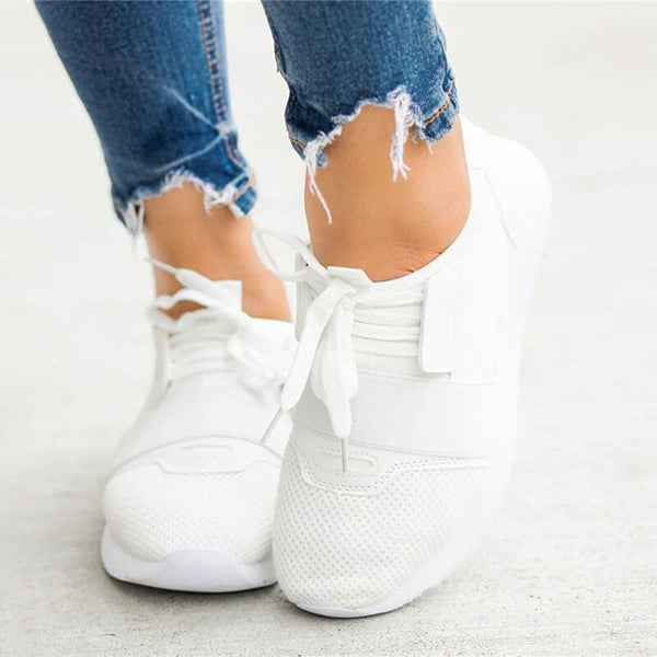 Mokashoes Athletic Hit Color Lace Up Breathable Platform Sneakers