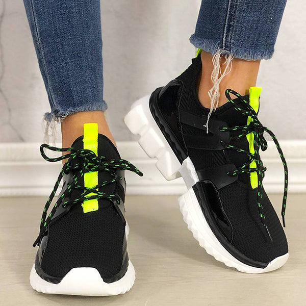 Mokashoes Women Casual Flyknit Fabric Hit Color Sneakers