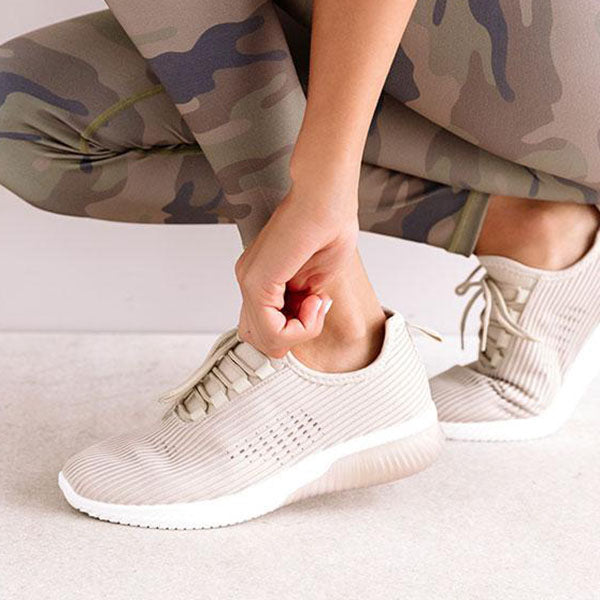 Mokashoes Ribbed Texturing Flat Sneakers