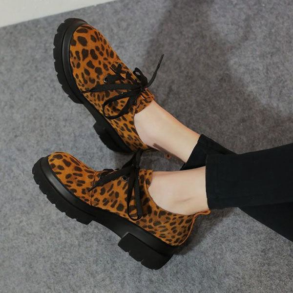 Mokoshoes Leather Leopard Casual Sneakers