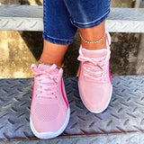 Mokashoes Lace-Up Hollow-Out Fabric Wedge Heel Sneakers