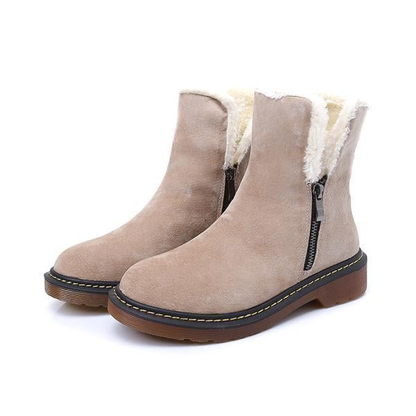 Mokashoes Side Zipper Round Toe Ankle Snow Boots